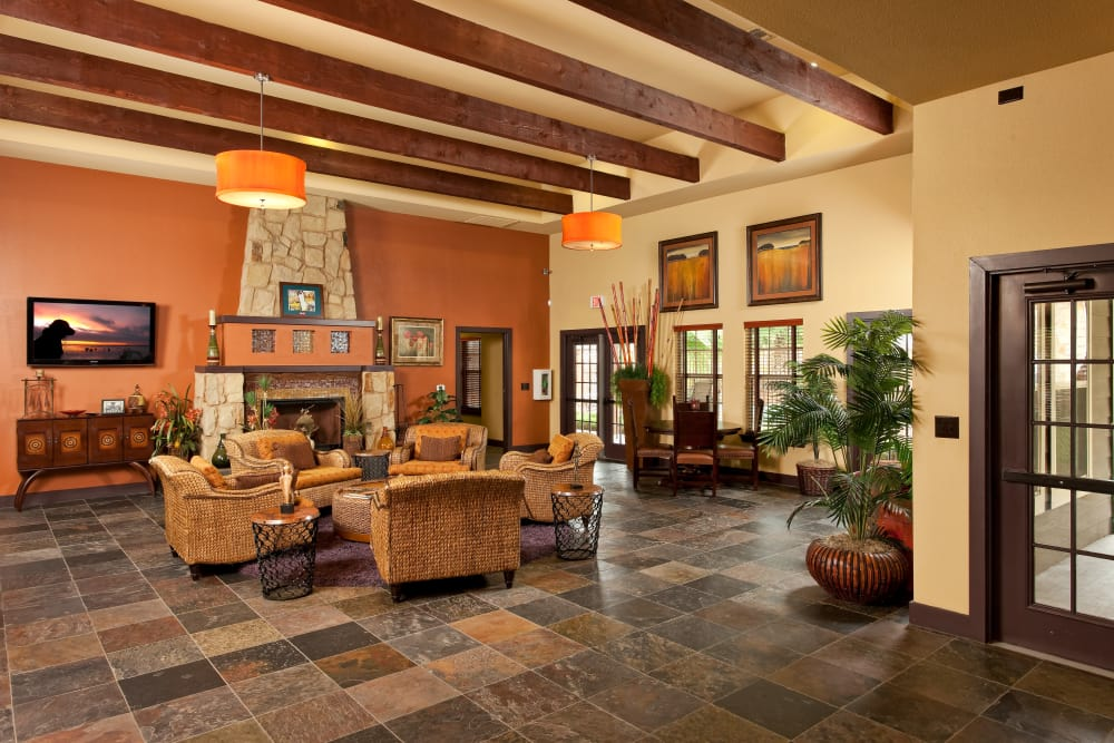 Interior view of the resident clubhouse at Springmarc Apartments in San Marcos, Texas