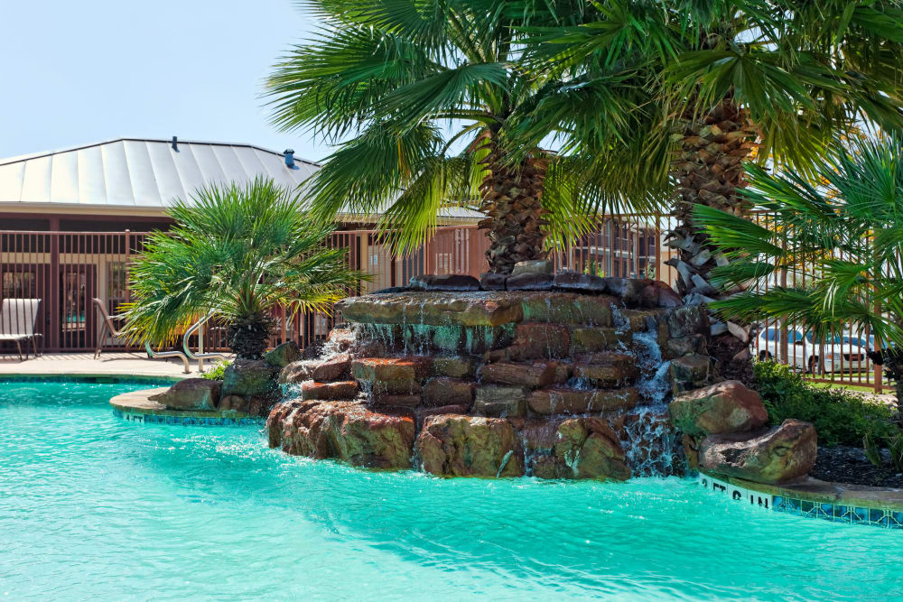 Water feature in the swimming pool at Springmarc Apartments in San Marcos, Texas