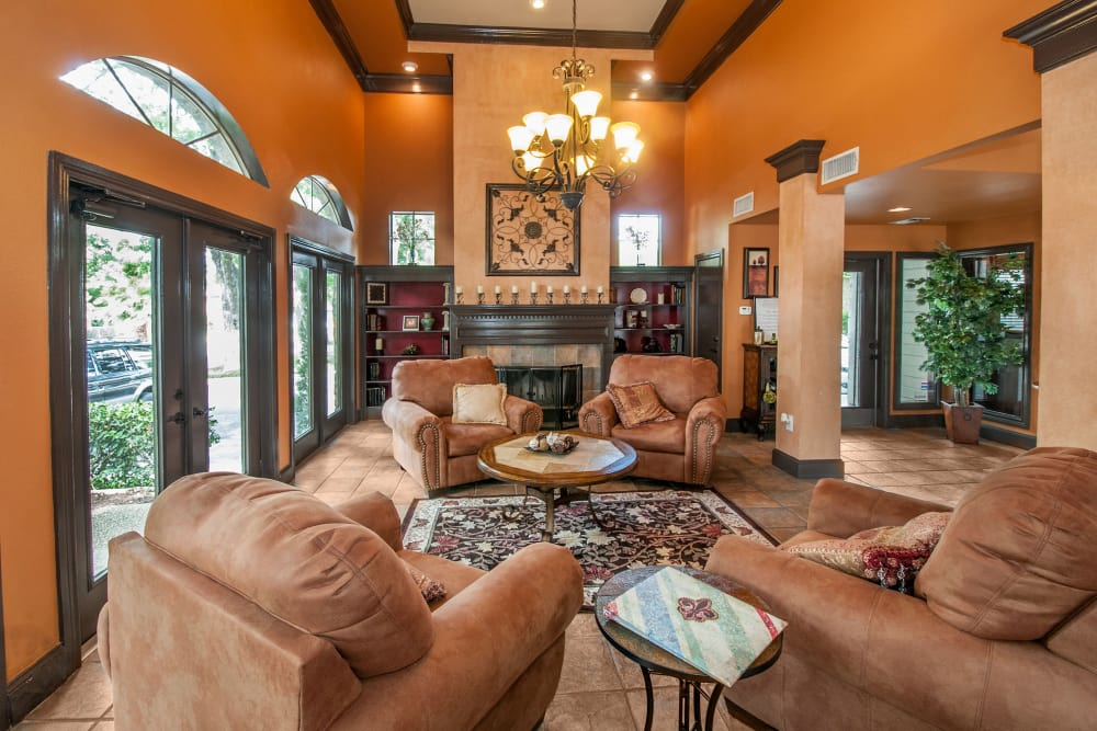 Interior view of the resident clubhouse at Rosemont at Olmos Park in San Antonio, Texas