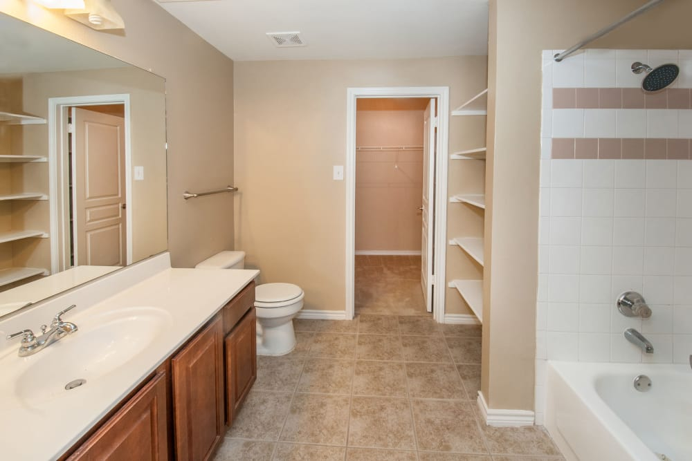 Bright and roomy bathroom in model home at Rosemont at Olmos Park in San Antonio, Texas