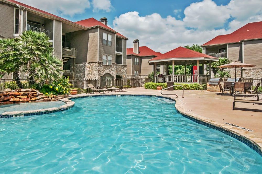 Sparkling swimming pool at Rosemont at Olmos Park in San Antonio, Texas