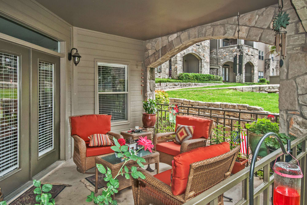 Private patio outside apartment home at Rosemont at Olmos Park in San Antonio, Texas