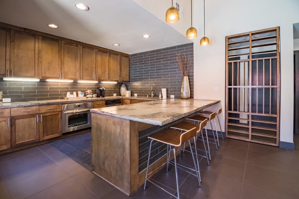 Kitchen in the clubhouse at Presidio Apartments in Allen, Texas