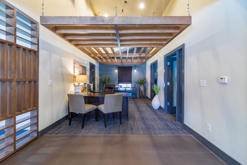 Inside the leasing office in Allen, Texas at Presidio Apartments
