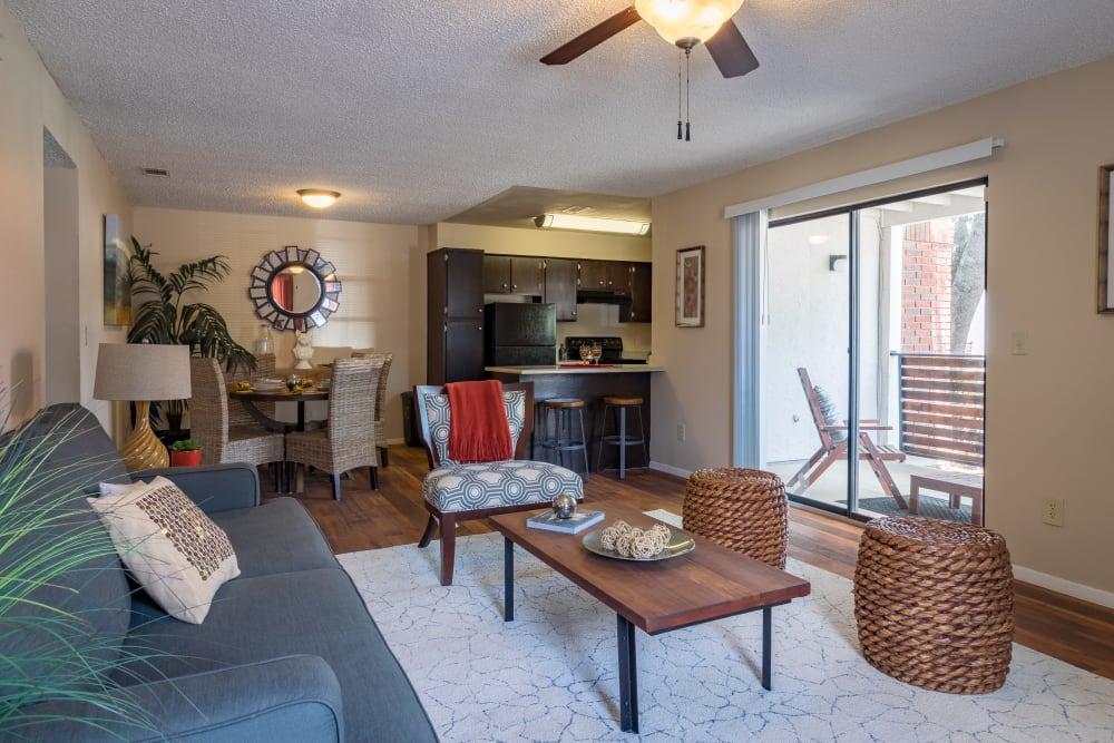 Spacious living room at Presidio Apartments in Allen, Texas