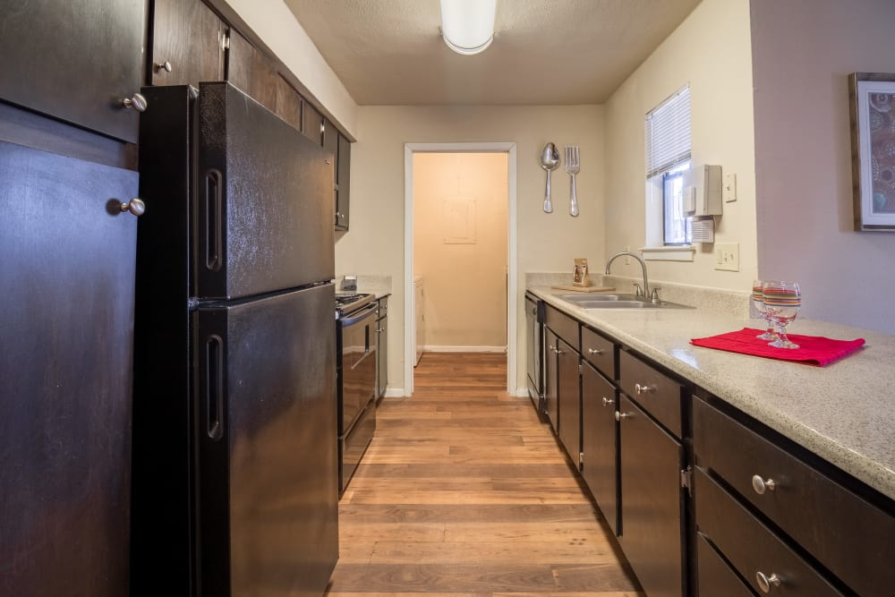 Kitchen in apartment at Presidio Apartments in Allen, Texas