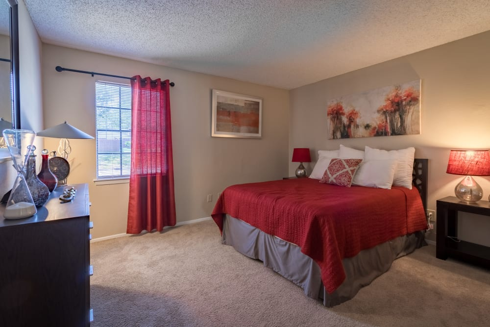 Furnished bedroom at Presidio Apartments in Allen, Texas