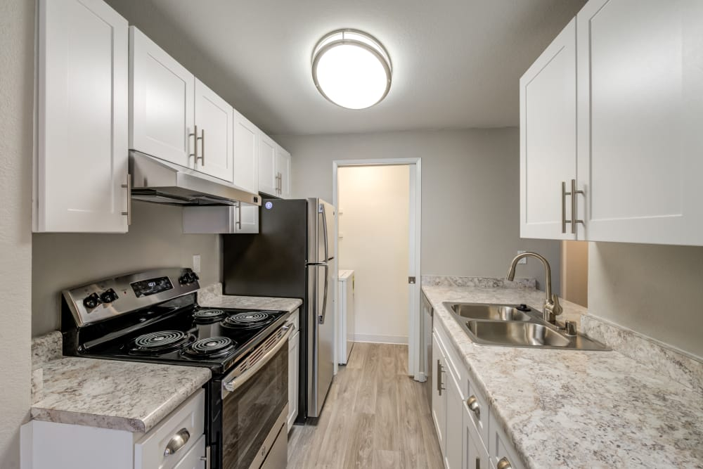 Newly remodeled kitchen at Chestnut Hills Apartments in Puyallup