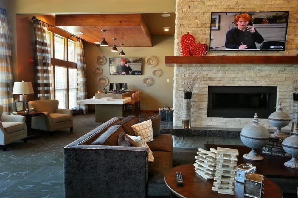 Fireplace in the clubhouse at The Icon at Lubbock in Lubbock, Texas