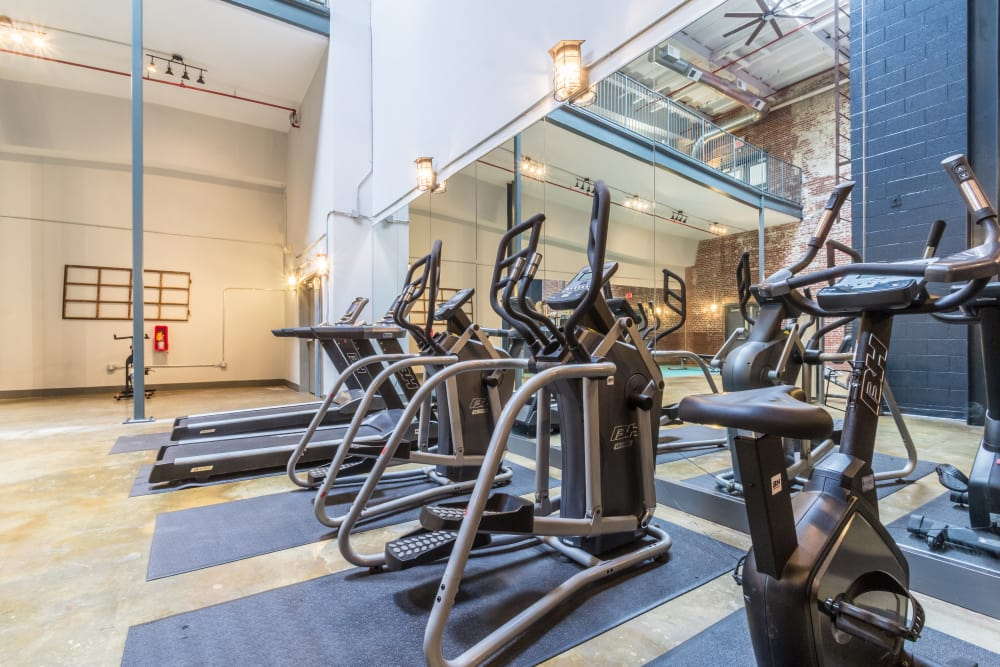 Exercise equipment at Canton Mill Lofts in Canton, Georgia