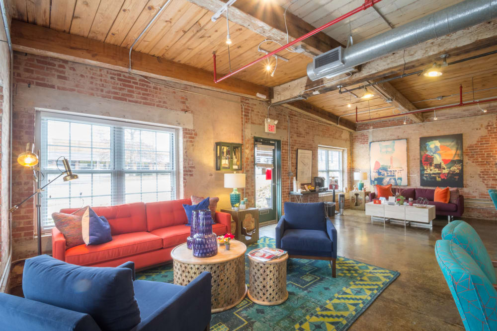 Spacious seating at Canton Mill Lofts in Canton, Georgia