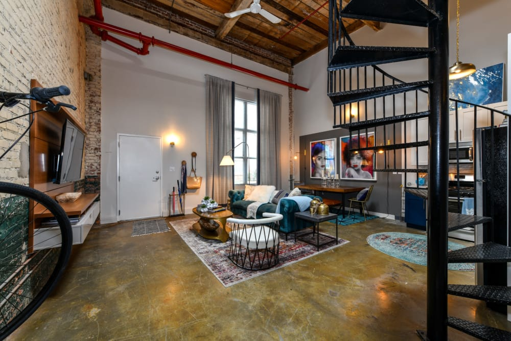Open living room concept at Canton Mill Lofts in Canton, Georgia