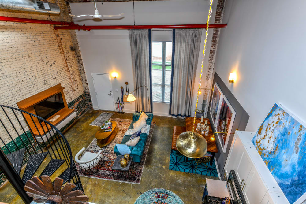 Spacious living room at Canton Mill Lofts in Canton, Georgia