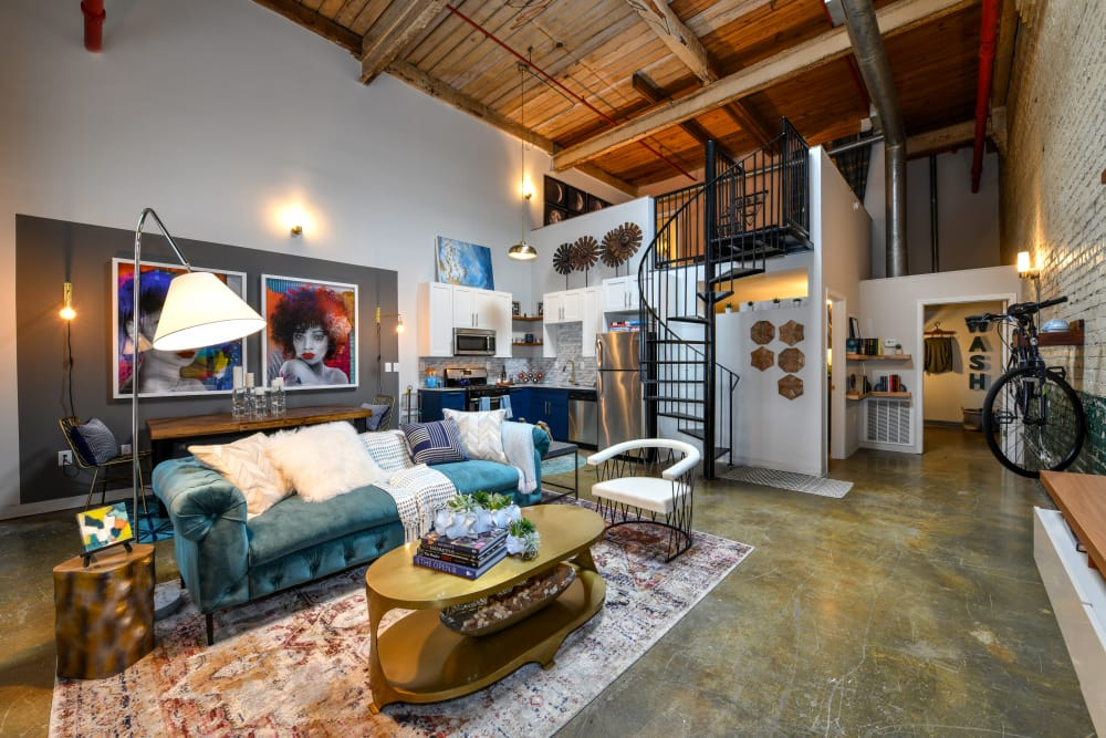 Tastefully decorated model room at Canton Mill Lofts in Canton, Georgia