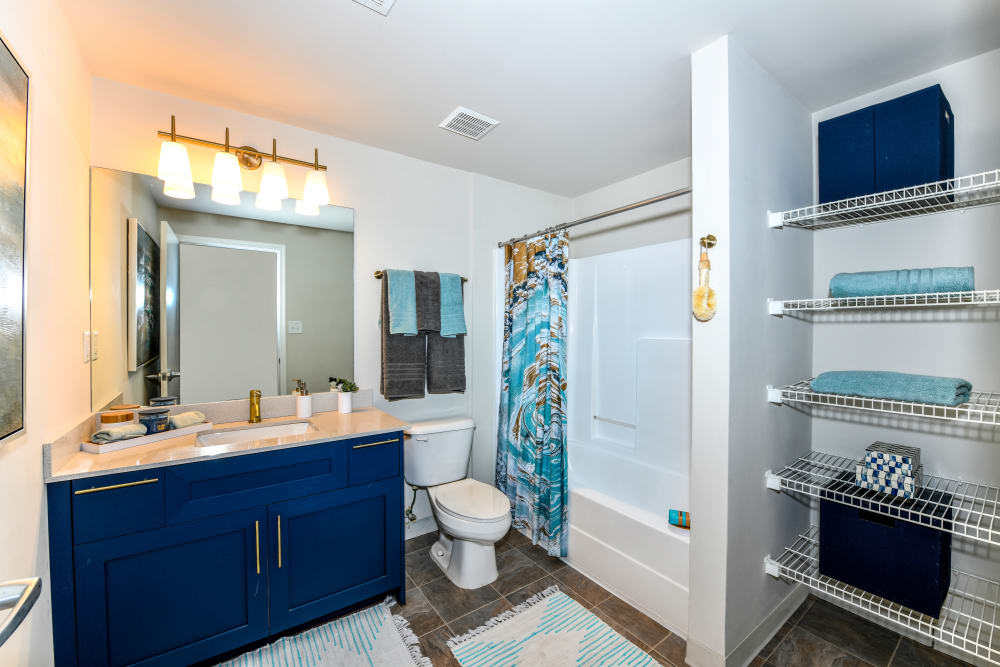 Model bathroom at Canton Mill Lofts in Canton, Georgia