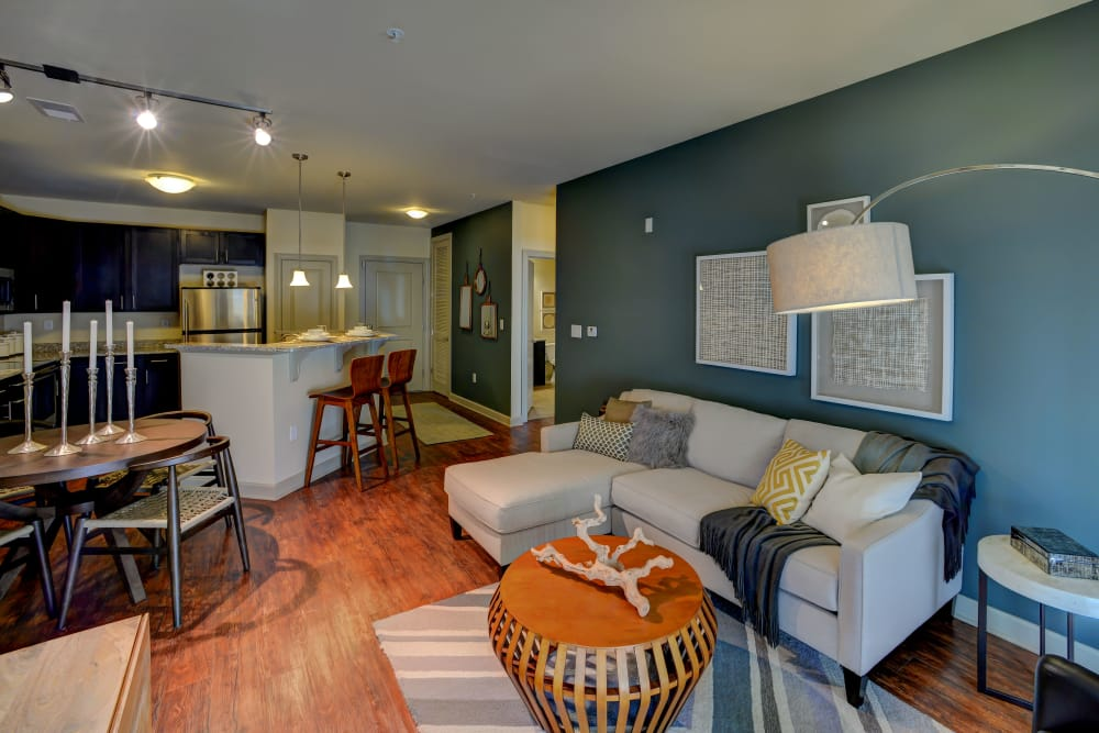 Model living room at 401 Oberlin in Raleigh, North Carolina