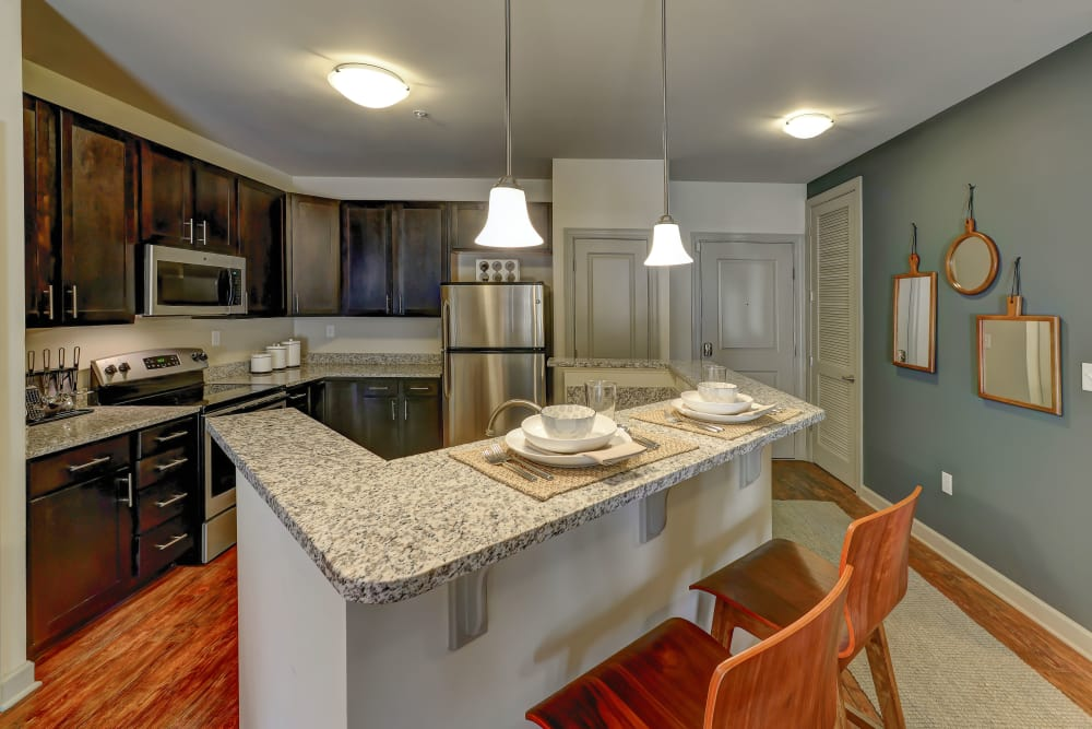 Kitchen island at 401 Oberlin in Raleigh, North Carolina