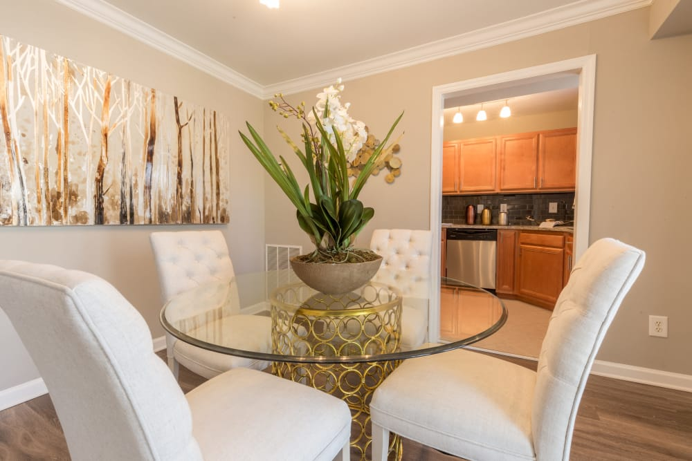 Beautiful dining room at The Ashford Apartment Homes in Brookhaven, Georgia