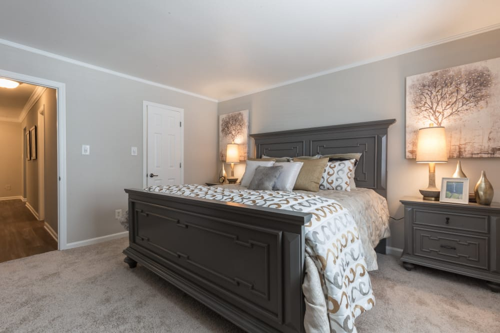Naturally lit model bedroom at The Ashford Apartment Homes in Brookhaven, Georgia