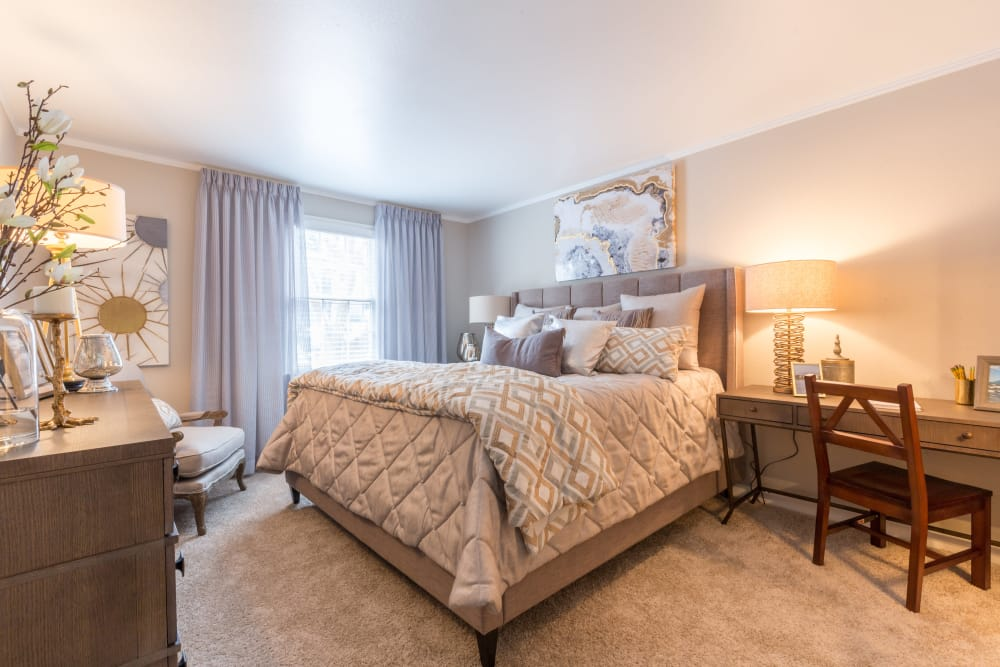 Lovely model bedroom at The Ashford Apartment Homes in Brookhaven, Georgia