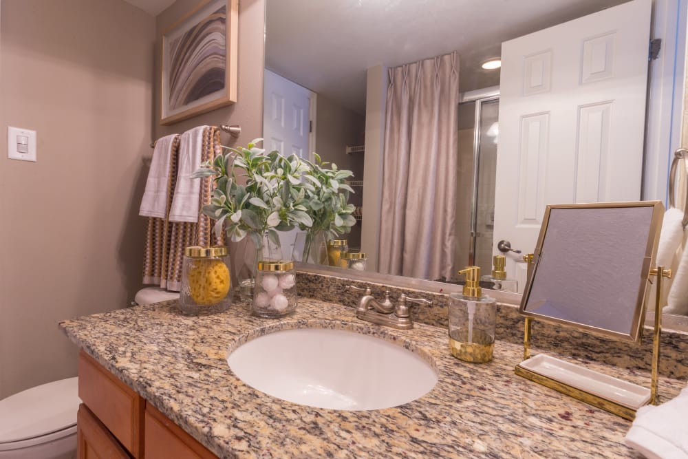 Lovely sink in a model bathroom at The Ashford Apartment Homes in Brookhaven, Georgia