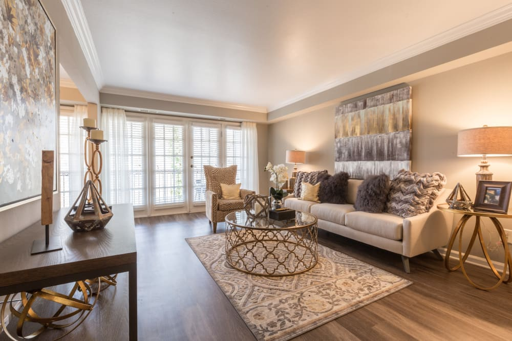 Spacious model living room at The Ashford Apartment Homes in Brookhaven, Georgia