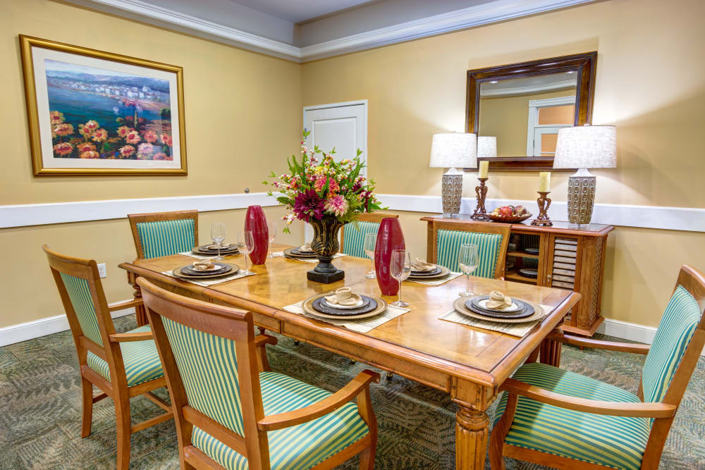 Private Resident dining room at The Lynmoore at Lawnwood Assisted Living and Memory Care in Fort Pierce, Florida.