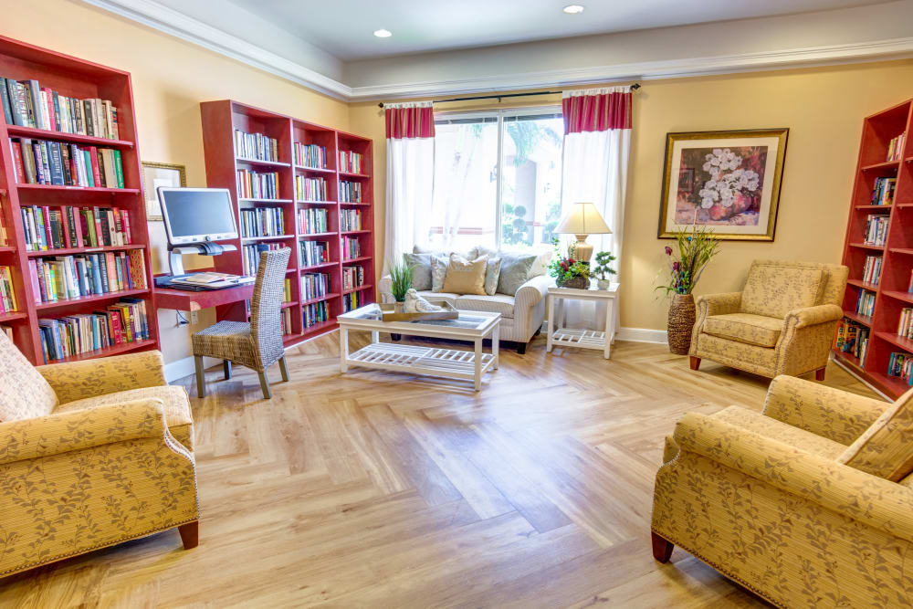 Large resident library at The Lynmoore at Lawnwood Assisted Living and Memory Care in Fort Pierce, Florida.