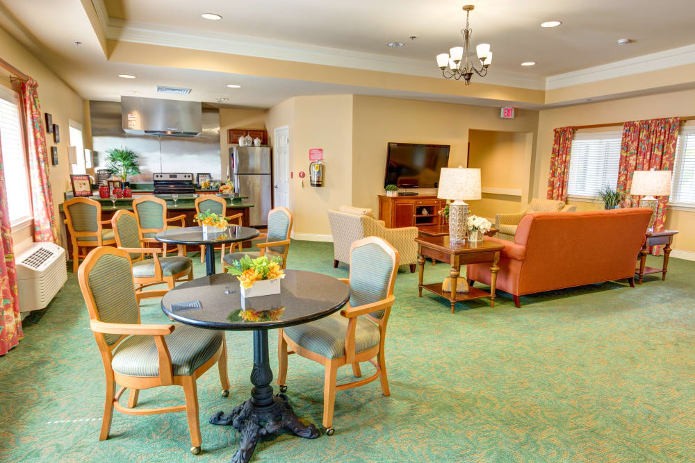 Resident Game room at The Lynmoore at Lawnwood Assisted Living and Memory Care in Fort Pierce, Florida.