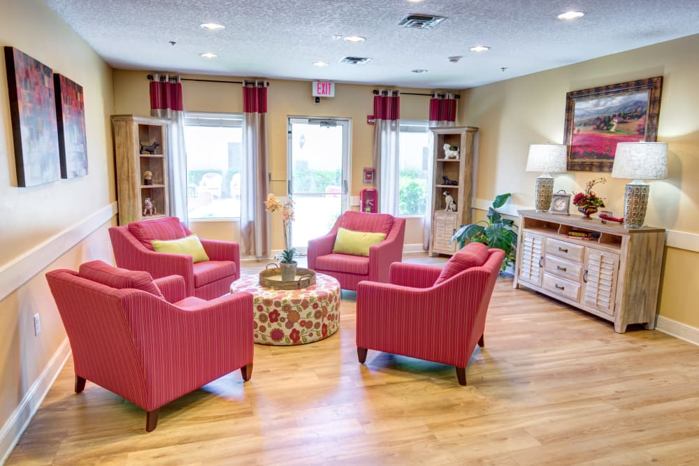 Lounge at The Lynmoore at Lawnwood Assisted Living and Memory Care in Fort Pierce, Florida.