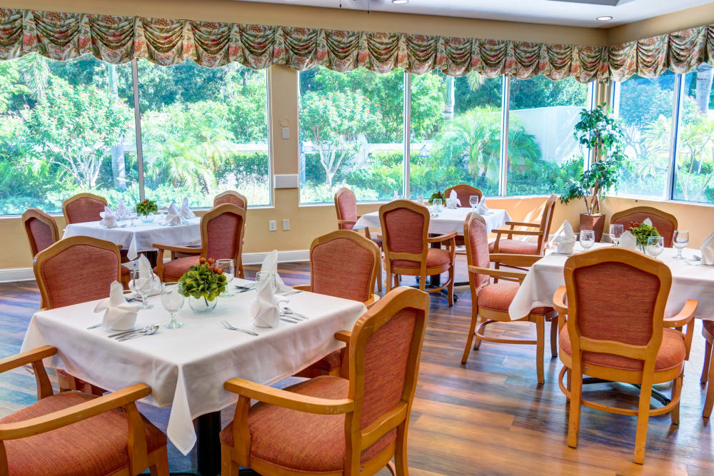 Dining room at The Lynmoore at Lawnwood Assisted Living and Memory Care in Fort Pierce, Florida.