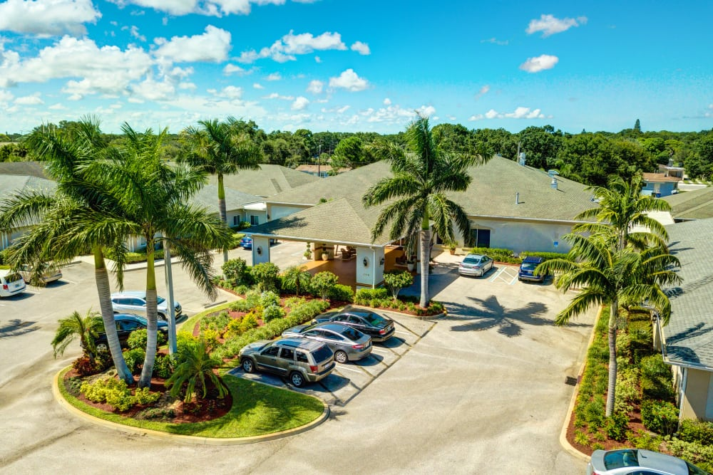 aerial shot of entry to The Lynmoore at Lawnwood Assisted Living and Memory Care in Fort Pierce, Florida.