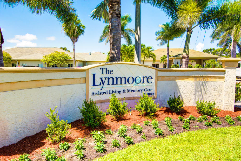 Entry location sign at The Lynmoore at Lawnwood Assisted Living and Memory Care in Fort Pierce, Florida