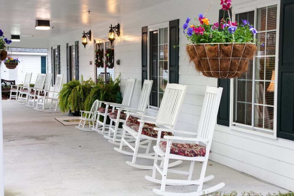 Enjoy relaxing on the porch at Sandpiper Courtyard in Mt. Pleasant