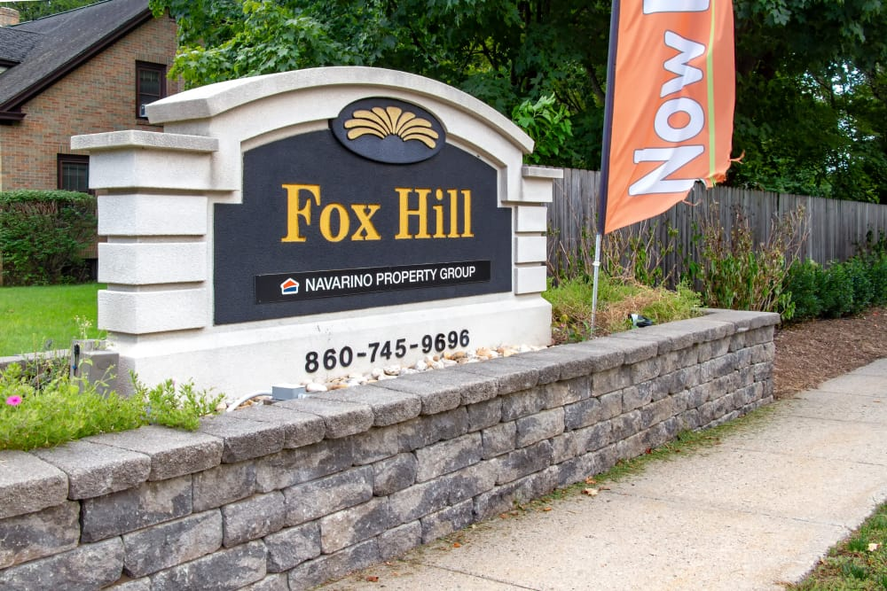 Beautiful entryway signage at Fox Hill in Enfield, Connecticut
