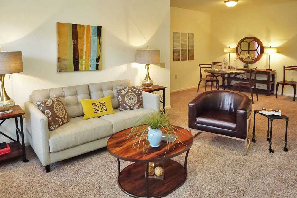 Modern decor in living room of model home at Valley Farms in Louisville, Kentucky