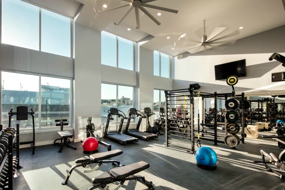 Bright fitness center at The Beacon at South Market in New Orleans, Louisiana