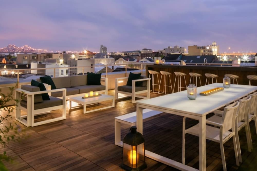 Rooftop patio at The Beacon at South Market in New Orleans, Louisiana
