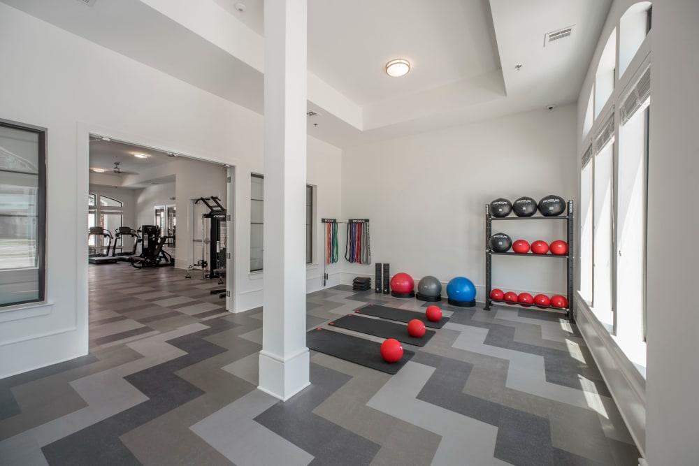 Yoga room at The Addison in Baton Rouge, Louisiana