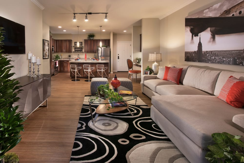 Modern decor in living area of model home at San Travesia in Scottsdale, Arizona