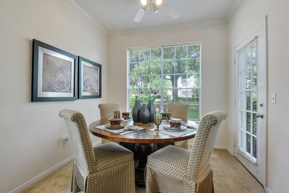 Spacious dining room of Plantation Apartments in Gulfport, Mississippi