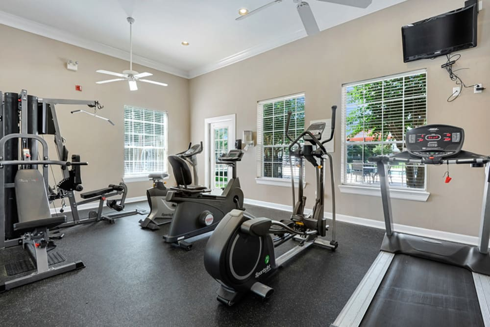 Fitness center at Plantation Apartments in Gulfport, Mississippi