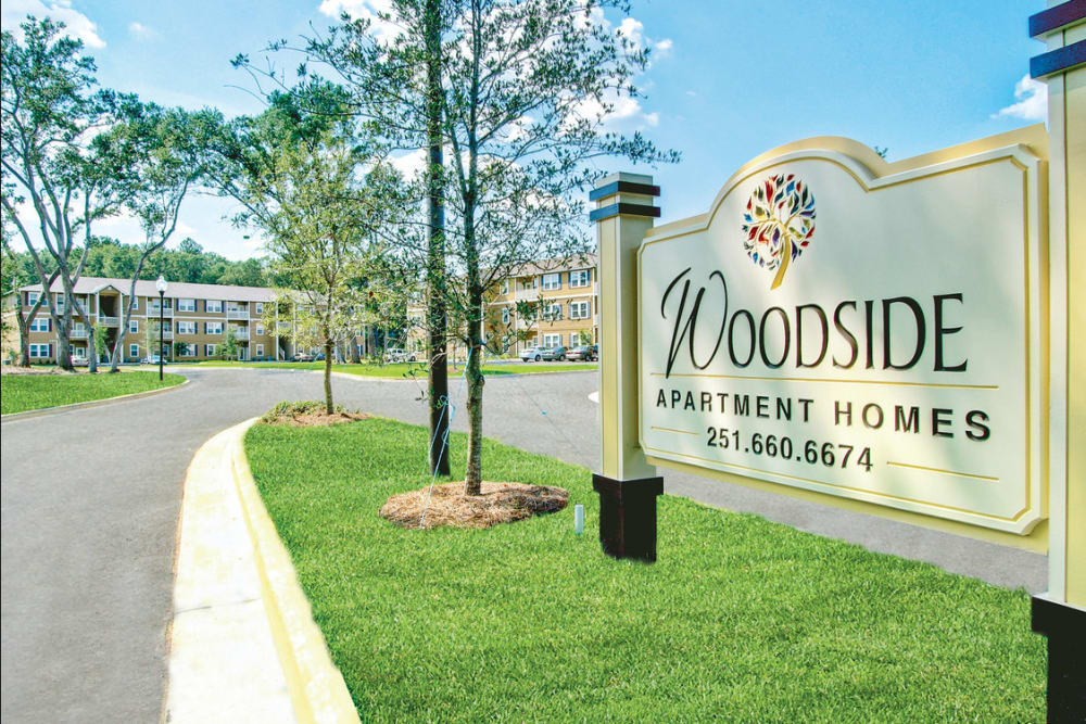 Welcome sign at Woodside in Mobile, Alabama