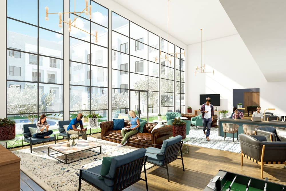 Interior rendering of the clubhouse at The Copeland in Austin, Texas