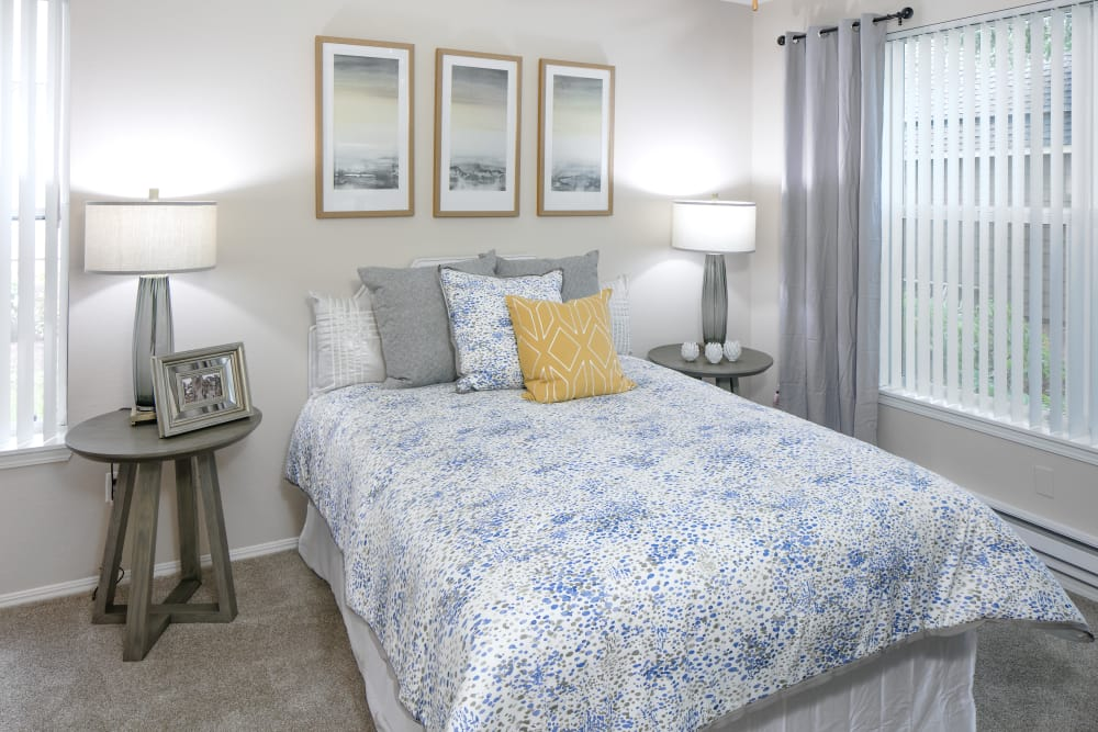 Beautiful bedroom at apartments at Center Pointe Apartment Homes in Beaverton, Oregon