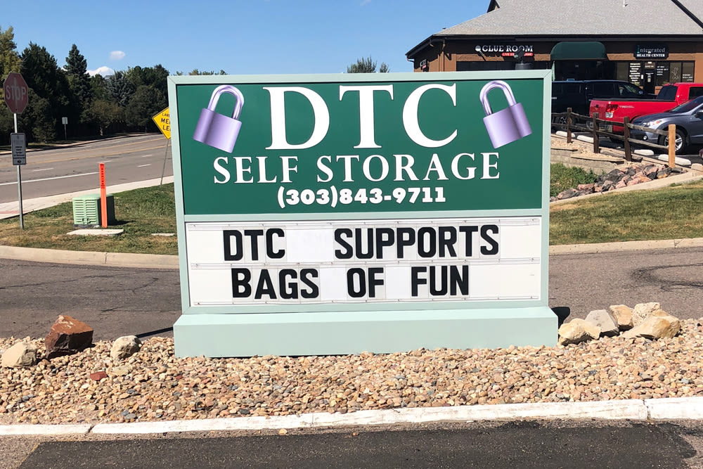 Storage front sign at DTC Self Storage in Centennial, Colorado