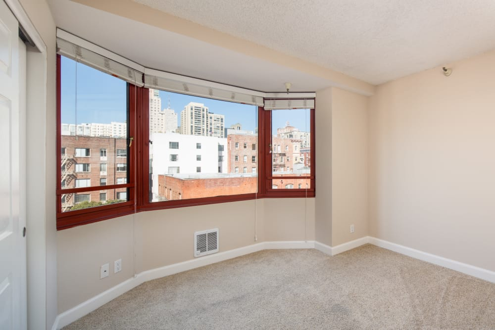 Window with a beautiful view at Tower 737 Condominium Rentals in San Francisco, California