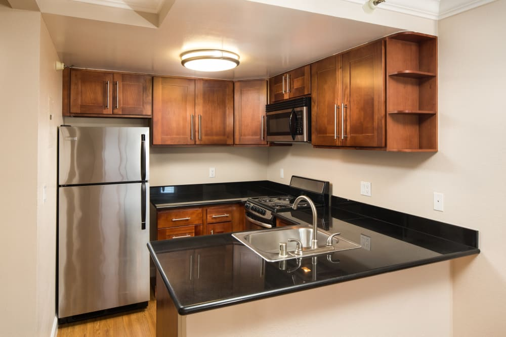 Modern apartments with custom kitchen at Tower 737 Condominium Rentals