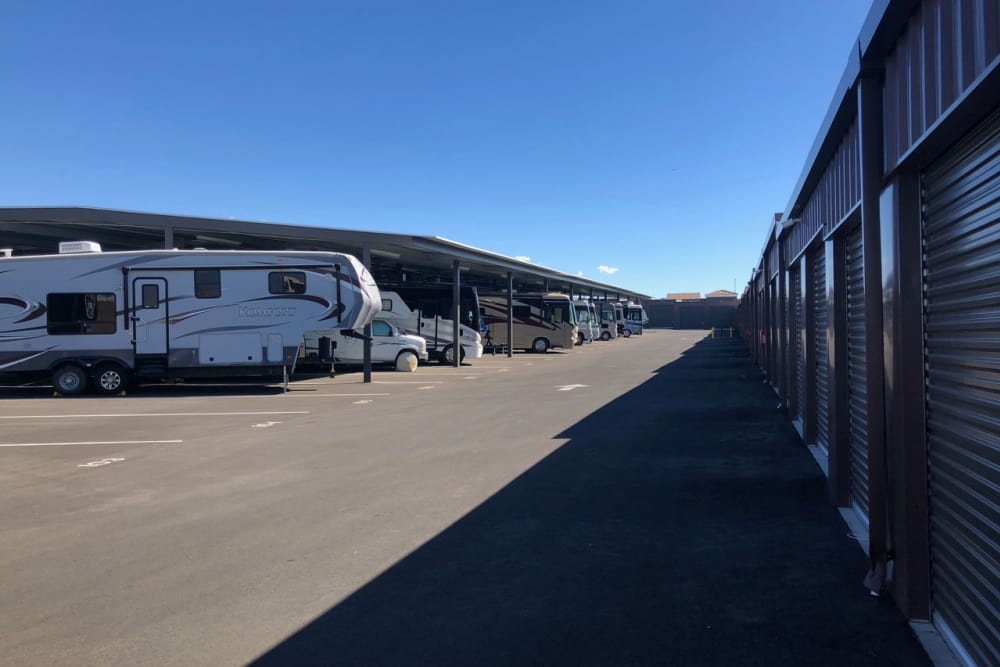 Wide exterior driveways at Golden State Storage Cadence in Henderson, Nevada