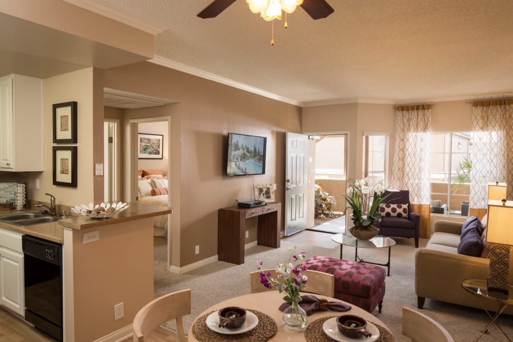 Dining room overlooking the living room at Paloma Summit Condominium Rentals in Foothill Ranch, California